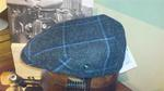 Gorra Lana-Cashmere 8london-2322 gris-cuadro azul